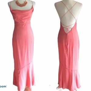RIMINI 100% SILK CORAL MAXI MERMAID LACE UP DRESS